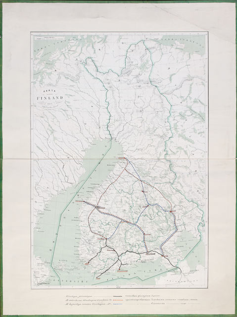 Suomen kartta valmiilla ja ehdotetuilla rautateillä vuodelta 1872