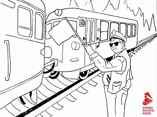 Lättähattu ja junanlähettäjä värityskuva