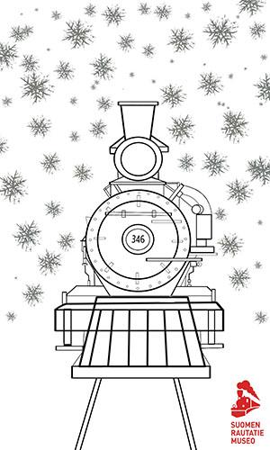 Värityskuva Talvinen juna