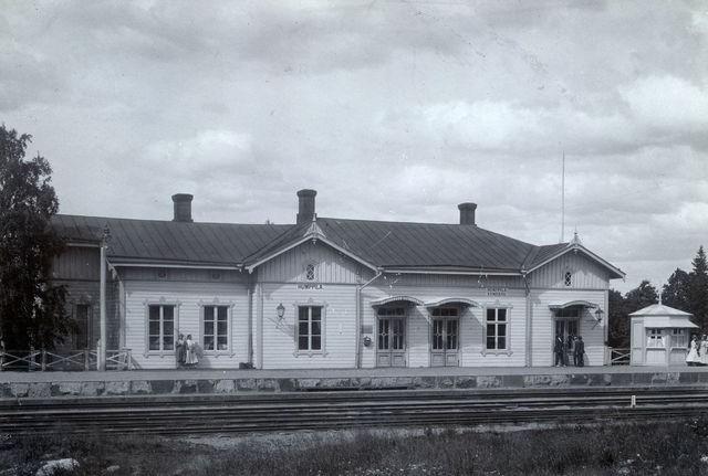 Vanha valokuva Humppilan rautatieasemasta