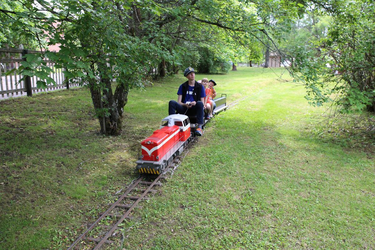 Lapset ja kuljettaja ovat puistojunan kyydissä Suomen Rautatiemuseon vehreässä puistossa.