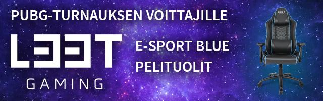 Turnauksen voittajille L33T Gaming E-Sport Blue Pelituolit